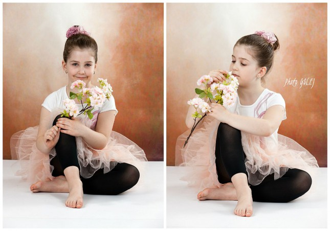 collage baletka s kvetom